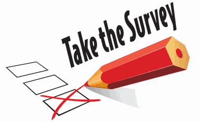 A picture of a pencil checking a box that invites people to take the online survey for the LHMP update.